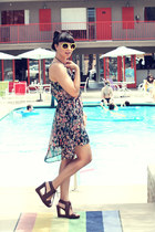 brown Matiko shoes - lulus dress - yellow lulus sunglasses