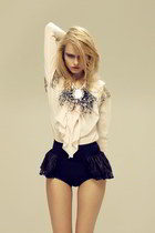 eggshell blouse - navy shorts