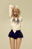eggshell blouse - navy shorts