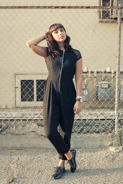 black pant suit Motel Rocks jumper - flats mesh Shoedazzle shoes