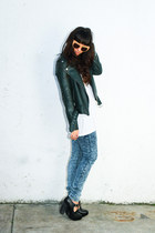forest green leather moto Kenna-T jacket - acid wash YMI Jeans pants