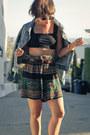 Black-crop-top-asos-top-ankleboots-shoedazzle-boots-aztec-vintage-shorts