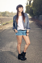 blue printed leopard Forever21 shorts - black Dolcetta boots