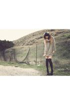beige Nordstromstrom sweater - black accessories - black Jessica Simpson shoes -