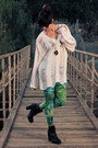 White-shredded-evil-twin-sweater-black-ankle-boots-dolcetta-boots