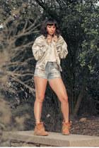 penelopes vintage jacket - MOOTTAA shirt - jean MinkPink shorts
