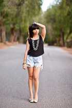 Guevarra Arcega Clothing heels - ripped Vintage Jean shorts shorts