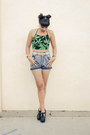 Heels-miista-shoes-acid-wash-vintage-shorts-crop-top-leaves-motel-rocks-top