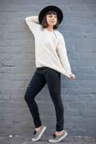 waffle knit vans girls sweater - ripped just fab jeans - penelopes vintage hat