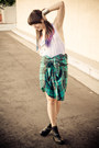 Black-dolcetta-dolce-vita-shoes-aquamarine-button-up-plaid-vintage-shirt