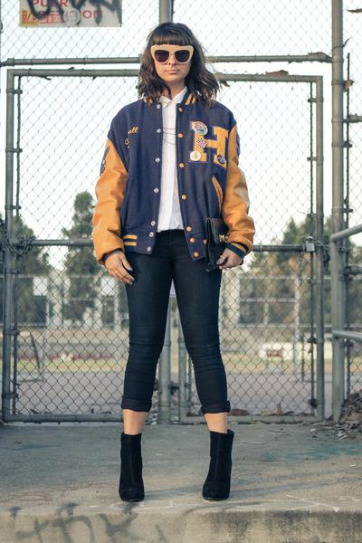 varsity jacket penelopes vintage jacket - ankle boot Shoedazzle boots