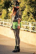 camo vintage jacket - ankle boots Dolcetta boots - David Kahn jeans