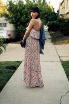 floral maxi Quiksilver dress - vintage jean Levis jacket