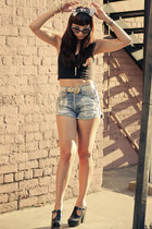 slashers diy Mink Pink shorts - platforms Miista shoes - Motel Rocks top