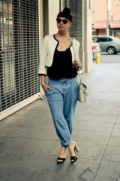 baggy Urban Outfitters jeans - Forever21 jacket - melie bianco bag