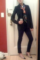 Helmut Lang blazer - forever 21 shirt - H&M pants - Chanel shoes - Hermes scarf