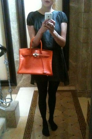 green Heike Jarick dress - black Wolford stockings - orange Hermes purse