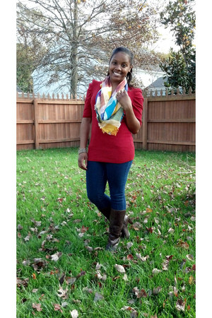 Say What USA sweater - mid-calf Ana boots - papaya jeans - fringe vintage scarf