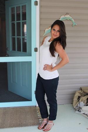 navy ankle H&M pants - white sheer H&M blouse - light yellow gold Aldo sandals