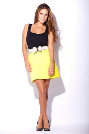 yellow Zara skirt - black Zara shirt - white Omotesando belt