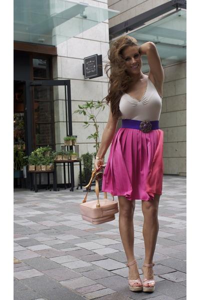 b782a6b602c light pink Louis Vuitton bag - light pink Jimmy Choo wedges - bubble gum  H M ski
