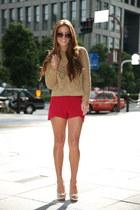 camel Zara sweater - red Katie May shorts - camel Zara pumps