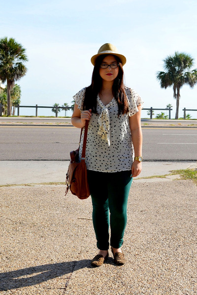 Forever 21 bag - fedora unknown hat - Forever 21 blouse - papaya pants