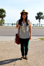Forever-21-bag-fedora-unknown-hat-forever-21-blouse-papaya-pants