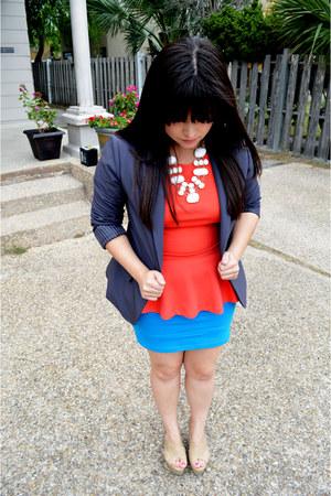 grey Forever 21 blazer - coral peplum Forever 21 top - blue Forever 21 skirt