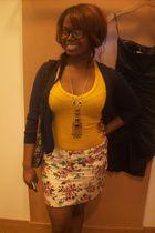 beige Forever 21 skirt - blue thrift cardigan - gold Forever 21 t-shirt - black