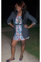 gray Thrift Store blazer - blue Forever 21 dress - purple Forever 21 shoes