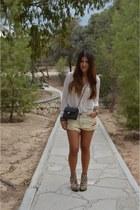 brown leopard Kurt Geiger boots - beige Zara shirt - black Chanel bag