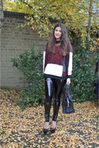 brick red asos jumper - black Topshop leggings - black Yves Saint Laurent bag
