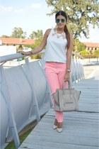 pink Topshop pants - beige Celine bag - teal carrera sunglasses