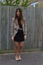 dark khaki Topshop blazer - black ErmaRolla dress - black Louis Vuitton bag