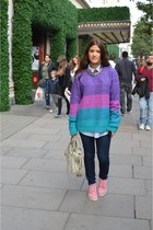 purple asos sweater - bubble gum Timberland boots - navy J Brand jeans