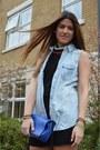 Blue-zara-bag-black-ermarolla-dress-beige-isabel-marant-sneakers