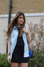 Blue-zara-bag-black-ermarolla-dress-beige-isabel-marant-sneakers