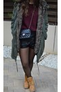 Dark-green-parka-coat-topshop-coat-mustard-timberland-boots-black-chanel-bag