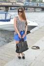 Black-zara-blazer-black-saint-laurent-paris-bag-blue-asos-shorts