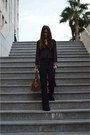 Black-zara-shirt-dark-brown-saint-laurent-paris-bag-black-zara-pants