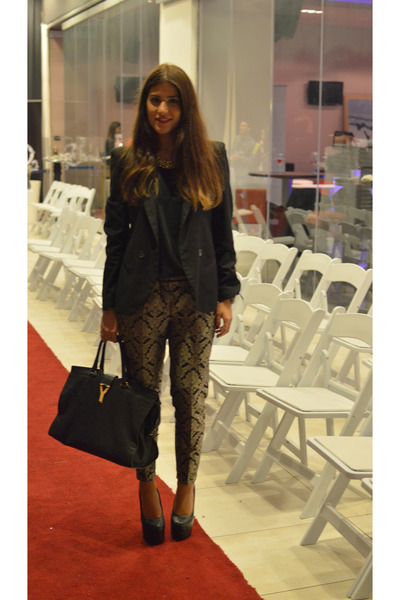 black asos blazer - black Yves Saint Laurent bag - dark khaki vintage pants
