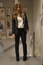 black Mango blazer - white Mango shirt - black Mango pants