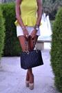 Yellow-peplum-primark-top-black-chanel-bag-white-zara-shorts
