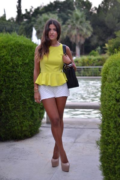 yellow peplum Primark top - black Chanel bag - white Zara shorts