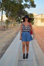 black Bottega Veneta boots - black Gap hat - ruby red Louis Vuitton bag