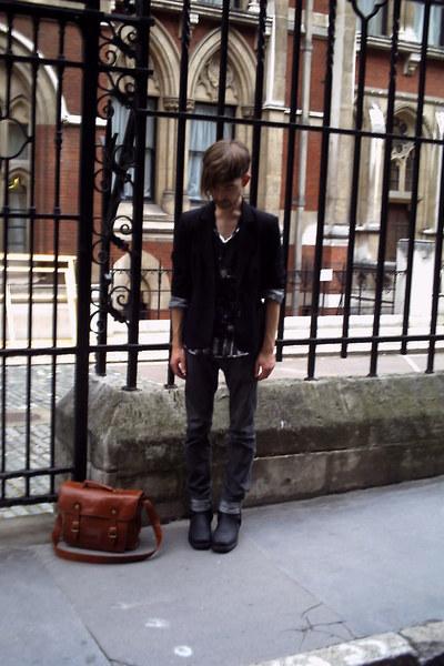 vintage blazer - Self Styled t-shirt - Zara t-shirt - All Saints jeans - Cowboy