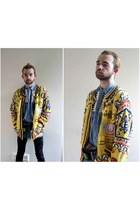 turquoise blue denim My Tribe shirt - yellow vintage cardigan