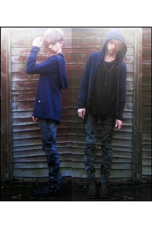 blue TKmaxx top - black Topman top - brown All Saints necklace - black Machine j