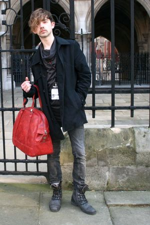 red vintage accessories - gray Topman jeans - black Ann Demeluemeester top
